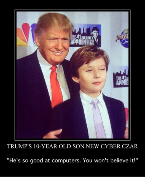 celebrity apprentice app trumps 10 year old son new cyber czar 4537372 celebrity apprentice app trump's 10 year old son new cyber czar