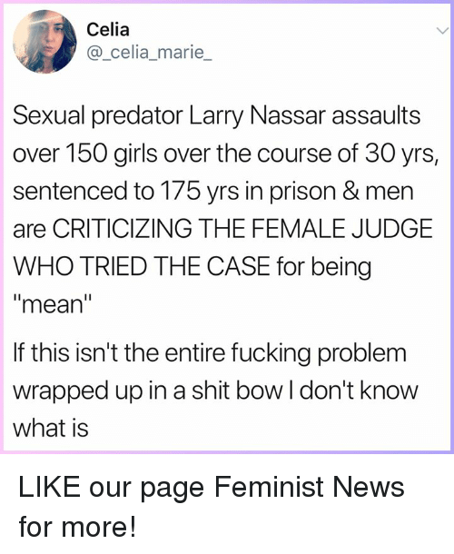 Fucking, Girls, and Memes: Celia  @_celia_marie  Sexual predator Larry Nassar assaults  over 150 girls over the course of 30 yrs,  sentenced to 175 yrs in prison & men  are CRITICIZING THE FEMALE JUDGE  WHO TRIED THE CASE for being  mean  If this isn't the entire fucking problem  wrapped up in a shit bow l don't know  what is LIKE our page Feminist News for more!