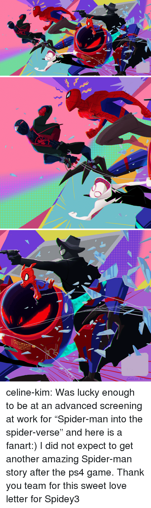 "Love, Ps4, and Spider: celine-kim:  Was lucky enough to be at an advanced screening at work for ""Spider-man into the spider-verse"" and here is a fanart:) I did not expect to get another amazing Spider-man story after the ps4 game. Thank you team for this sweet love letter for Spidey3"