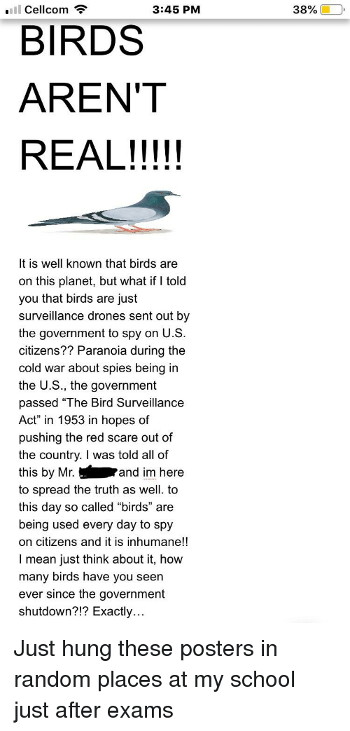 "Scare, School, and Birds: Cellcom  3:45 PM  38%  BIRDS  AREN'T  It is well known that birds are  on this planet, but what if I told  you that birds are just  surveillance drones sent out by  the government to spy on U.S  citizens?? Paranoia during the  cold war about spies being in  the U.S., the government  passed ""The Bird Surveillance  Act"" in 1953 in hopes of  pushing the red scare out of  the countrv. I was told all of  this by Mr.  to spread the truth as well. to  this day so called ""birds"" are  being used every day to spy  on citizens and it is inhumane!!  I mean just think about it, how  many birds have you seen  ever since the government  shutdown?!? Exactly.  and im here"