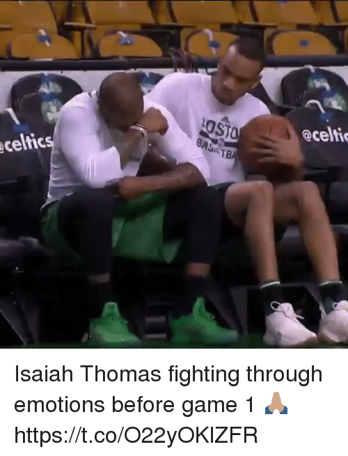 Celtic, Game, and Hood: celtic  BAS T  aceltie Isaiah Thomas fighting through emotions before game 1 🙏🏽 https://t.co/O22yOKlZFR
