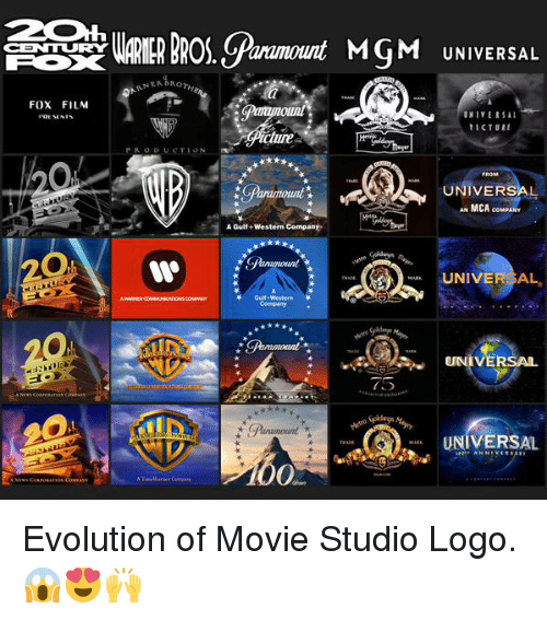 Memes, Western, and 🤖: CENTTURTY  FOX FILM  ARNERBRor  anamount MSM UNIVERSAL  UNIVERSAL  t ICTURE  UNIVER  AN MCA  coMPANY  A Gulf Western Company  UNIVERSAL  Gulf Western  UNIVERSAL  75  UNIVERSAL Evolution of Movie Studio Logo. 😱😍🙌