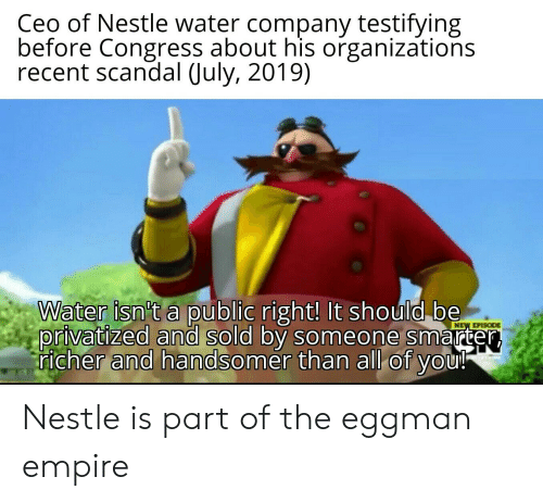 Ceo of Nestle Water Company Testifying Before Congress About