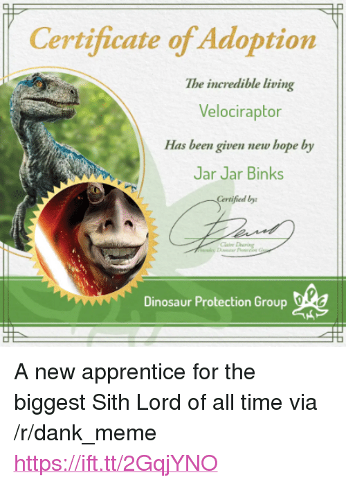 """Dank, Dinosaur, and Jar Jar Binks: Certificate of Adoption  The incredible living  Velociraptor  Has been given new hope by  Jar Jar Binks  fied by  Dinosaur Protection Group dlea <p>A new apprentice for the biggest Sith Lord of all time via /r/dank_meme <a href=""""https://ift.tt/2GqjYNO"""">https://ift.tt/2GqjYNO</a></p>"""