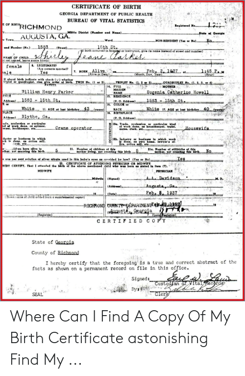 Certificate Of Birth Georgia Department Of Public Health