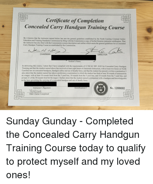 Certificate of Completion Concealed Carry Handgun Training Course Be ...
