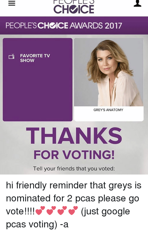 Ch Ice Peoples Chcice Awards 2017 Tv Show Greys Anatomy Thanks For