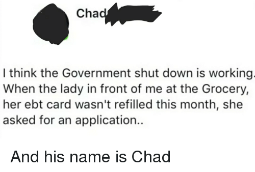 Government, Thathappened, and Her: Cha  I think the Government shut down is working  When the lady in front of me at the Grocery,  her ebt card wasn't refilled this month, she  asked for an application..