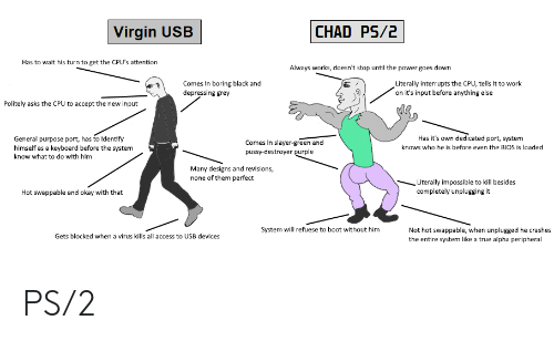 Slayer, True, and Virgin: CHAD PS/2  Virgin  USB  Has to wait his turn to get the CPU's attention  Always works, doesn't stop until the power goes down  Literally interrupts the CPU, tells it to work  on it's input before anything else  Comes in boring black and  depressing grey  Politely asks the CPU to accept the new input  Has it's own dedicated port, system  General purpose port, has to identify  himself as a keyboard before the system  Comes in slayer-green and  pussy-destroyer purple  knows who he is before even the BIOS is loaded  know what to do with him  Many designs and revisions,  none of them perfect  Literally impossible to kill besides  completely unplugging it  Hot swappable and okay with that  Not hot swappable, when unplugged he crashes  the entire system like a true alpha peripheral  System will refuese to boot without him  Gets blocked when a virus kills all access to USB devices PS/2
