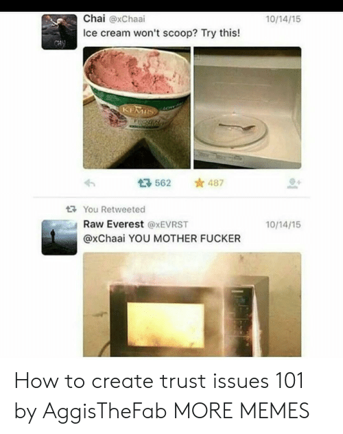 Dank, Memes, and Target: Chai @xChaai  Ice cream won't scoop? Try this!  10/14/15  562 487  다 You Retweeted  Raw Everest @xEVRST  @xChaai YOU MOTHER FUCKER  10/14/15 How to create trust issues 101 by AggisTheFab MORE MEMES