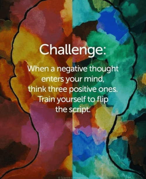 Memes, Science, and Train: Challenge:  When a negative thought  enters your mind,  think three positive ones  Train yourself to flip  the script.  @ Science