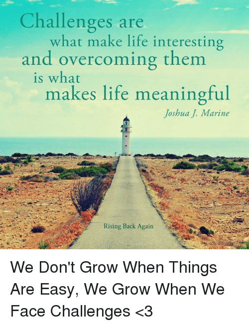 Challenges Are What Make Life Interesting and Overcoming Them Is ...