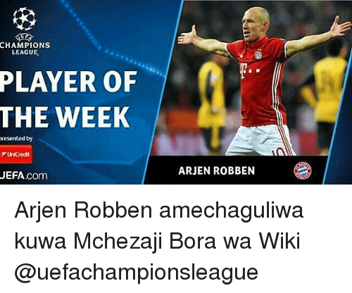 CHAMPIONS LEAGUE PLAYER OF THE WEEK Resented by UniCredit UEFAcom