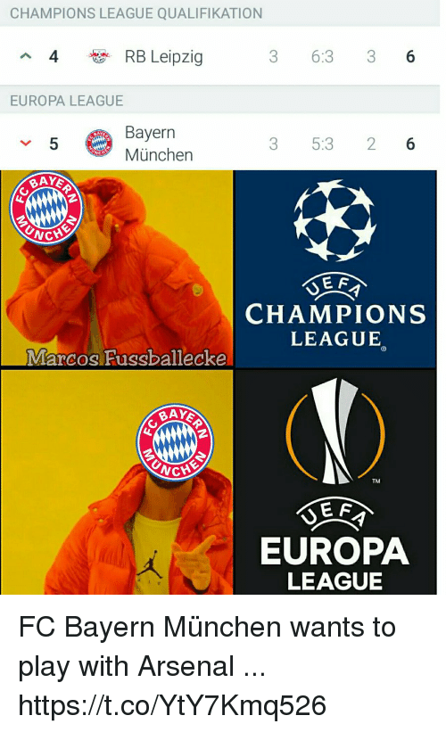Arsenal, Memes, and Champions League: CHAMPIONS LEAGUE QUALIFIKATION  4  RB Leipzig  3 6:3 36  EUROPA LEAGUE  Bayern  München  5  3 5:3 26  CHAMPIONS  LEAGUE  Marcos Fussballecke  BAY  TM  E F  EUROPA  LEAGUE FC Bayern München wants to play with Arsenal ... https://t.co/YtY7Kmq526