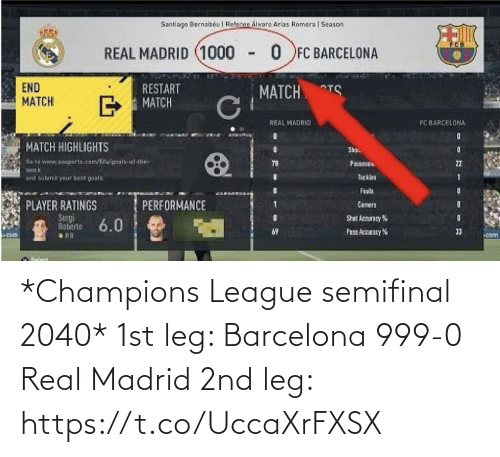 Barcelona, Memes, and Real Madrid: *Champions League semifinal 2040*  1st leg:  Barcelona 999-0 Real Madrid  2nd leg: https://t.co/UccaXrFXSX