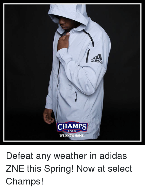 sneakers for cheap 49e45 42b79 Adidas, Memes, and Sports  CHAMPS SPORTS WE KNOW GAME adidas Defeat any  weather