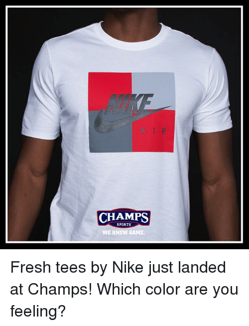 Fresh, Memes, and Nike: CHAMPS  SPORTS  WE KNOW GAME Fresh tees by Nike just landed at Champs! Which color are you feeling?