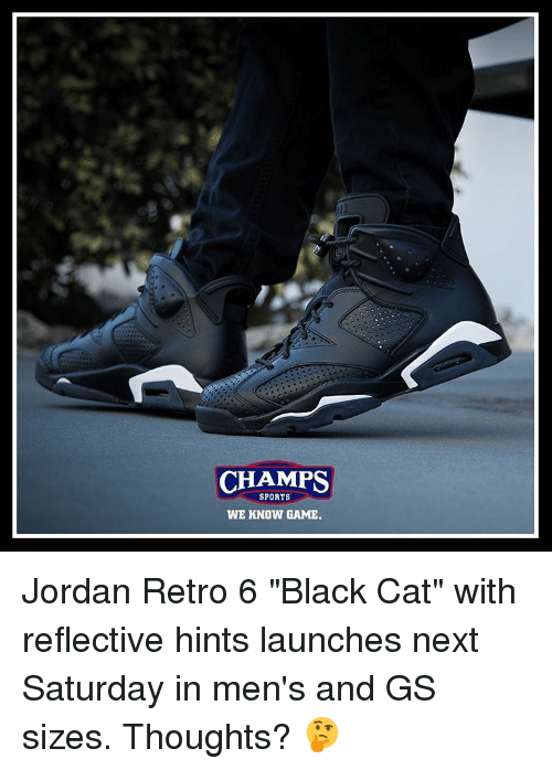 newest 41131 f538e CHAMPS SPORTS WE KNOW GAME Jordan Retro 6 Black Cat With ...