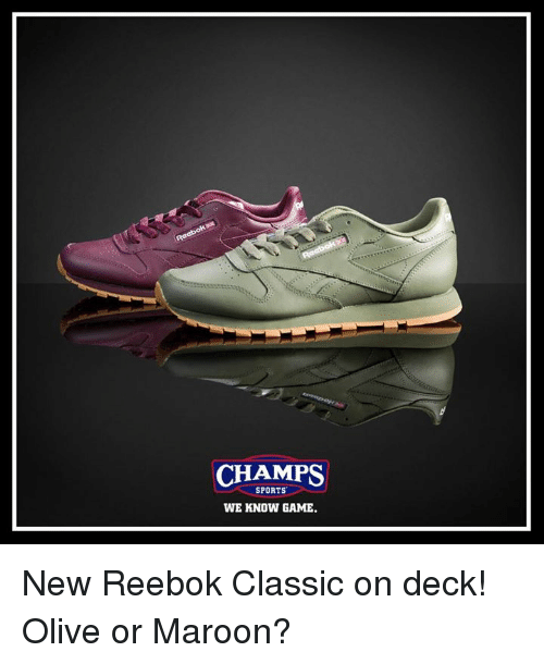 f7996b51aa4a4 CHAMPS SPORTS WE KNOW GAME New Reebok Classic on Deck! Olive or ...