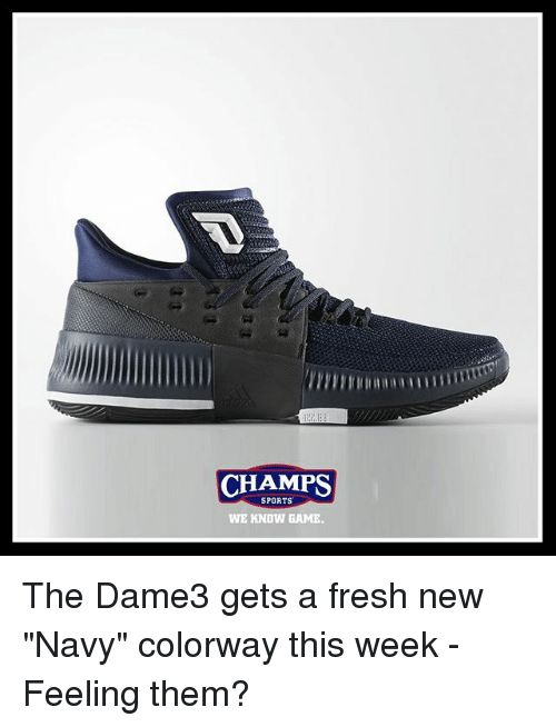 "Fresh, Memes, and Sports: CHAMPS  SPORTS  WE KNOW GAME. The Dame3 gets a fresh new ""Navy"" colorway this week - Feeling them?"