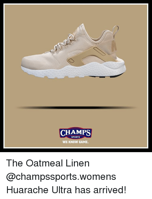 dcd8d9b8040 CHAMPS SPORTS WE KNOW GAME the Oatmeal Linen Huarache Ultra Has ...