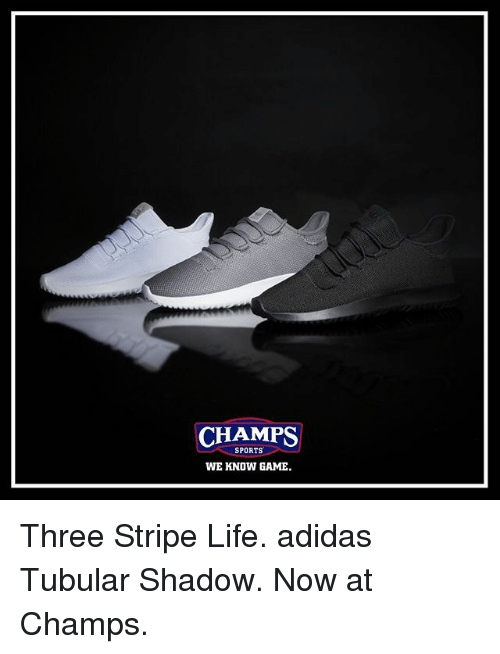 Adidas, Life, and Memes: CHAMPS  SPORTS  WE KNOW GAME Three Stripe Life. adidas Tubular Shadow. Now at Champs.