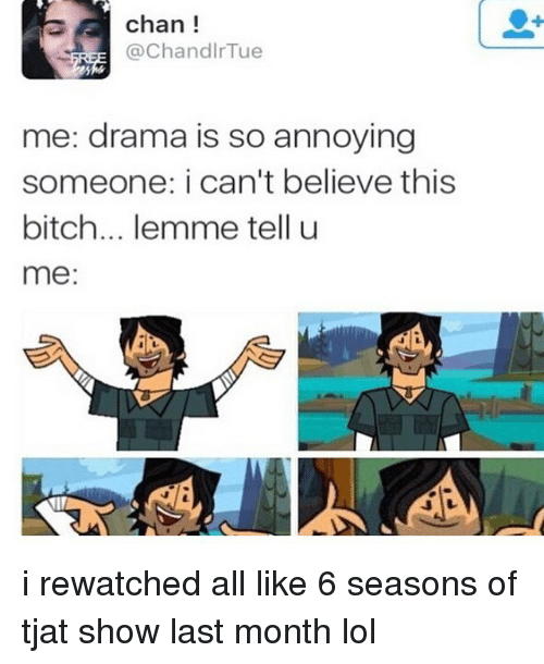 Bitch, Lol, and Memes: chan !  Chandir lue  me: drama is so annoying  someone: i can't believe this  bitch... lemme tell u  me i rewatched all like 6 seasons of tjat show last month lol