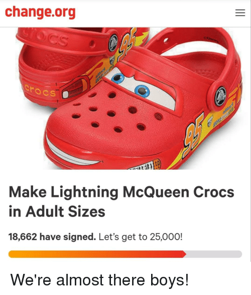 79beb30ad0e6 Changeorg Make Lightning McQueen Crocs in Adult Sizes 18662 Have ...