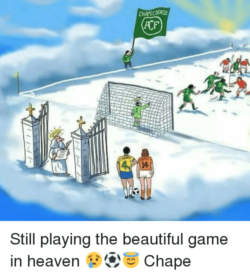 Beautiful, Heaven, and Memes: CHAPECOENSE  Si  14 Still playing the beautiful game in heaven 😢⚽️😇 Chape