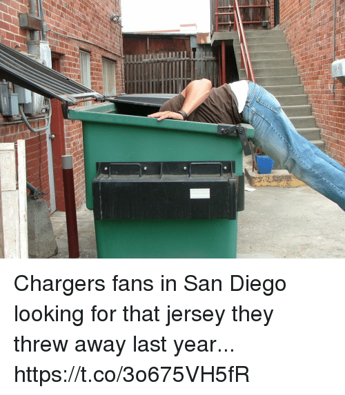 Football, Nfl, and Sports: Chargers fans in San Diego looking for that jersey they threw away last year... https://t.co/3o675VH5fR