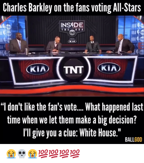 "Nba, White House, and Charles Barkley: Charles Barkley on the fans voting All-Stars  INSDE  V8A  KIA  BA  ""l don't like the fan's vot...What happened last  time when we let them make a big decision?  Il give you a clue: White House.""  BALLGOD 😭💀😭💯💯💯💯"