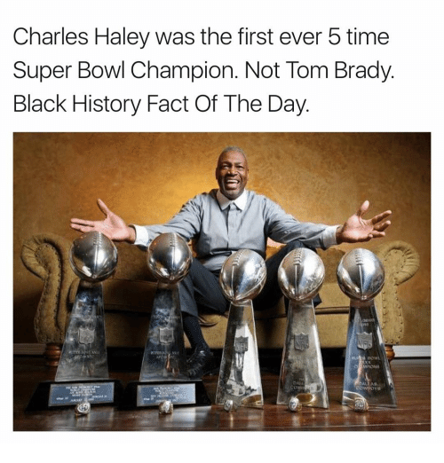 Memes, 🤖, and Charles Haley: Charles Haley was the first ever 5 time  Super Bowl Champion. Not Tom Brady  Black History Fact Of The Day  DALLAS