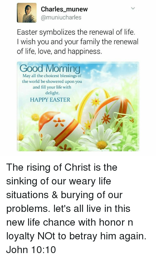 Charles Munew Easter Symbolizes The Renewal Of Life I Wish You And