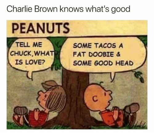 Charlie, Head, and Love: Charlie Brown knows what's good  PEANUTS  TELL ME  CHUCK, WHA  IS LOVE?  SOME TACOS A  FAT DOOBIE &  SOME GOOD HEAD