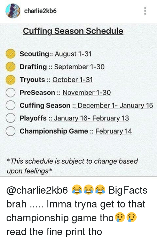 Charliekb Cuffing Season Schedule Scouting August Drafting - August 1