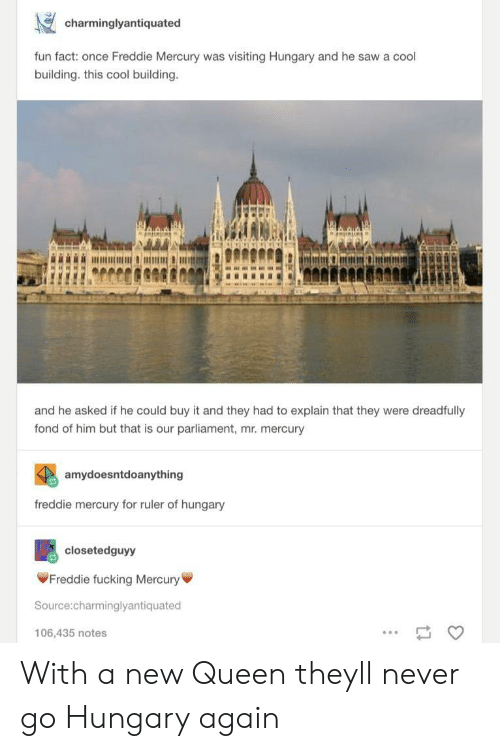 Fucking, Saw, and Queen: charminglyantiquated  fun fact: once Freddie Mercury was visiting Hungary and he saw a cool  building. this cool building  and he asked if he could buy it and they had to explain that they were dreadfully  fond of him but that is our parliament, mr. mercury  amydoesntdoanything  freddie mercury for ruler of hungary  closetedguyy  Freddie fucking Mercury  Source:charminglyantiquated  106,435 notes With a new Queen theyll never go Hungary again