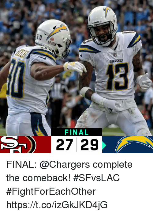 Memes, Chargers, and 🤖: CHARSERS  13  FINAL  27 29 FINAL: @Chargers complete the comeback! #SFvsLAC #FightForEachOther https://t.co/izGkJKD4jG