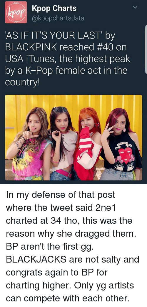 CHART or Kpop Charts 'AS IF IT'S YOUR LAST by BLACKPINK