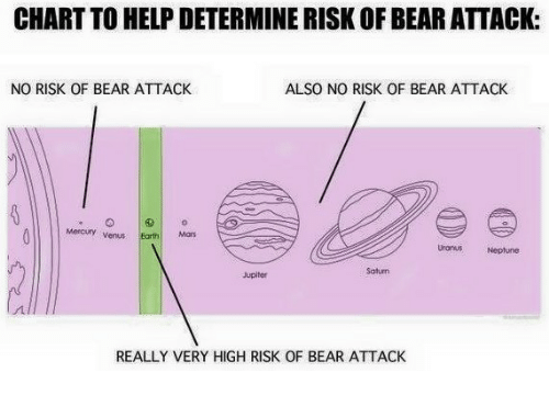 Bear, Help, and Jupiter: CHART TO HELP DETERMINE RISK OF BEAR ATTACK:  NO RISK OF BEAR ATTACK  ALSO NO RISK OF BEAR ATTACK  Mercury venrthMa  Uronus  Neptune  Saturn  Jupiter  REALLY VERY HIGH RISK OF BEAR ATTACK