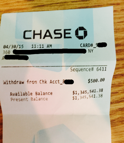 Chase, Balance, and Sequence: CHASE  84/39/15 11:11 AM  366  CARD#  sequence# 6411  withdraw from Chk Acct$500.00  Available Balance  Present Balance  $1,345,541.38  $1,345,541.38