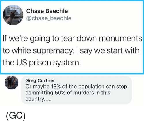 Memes, Prison, and Chase: Chase Baechle  @chase_baechle  If we're going to tear down monuments  to white supremacy, I say we start with  the US prison systenm  Greg Curtner  Or maybe 13% of the population can stop  committing 50% of murders in this (GC)