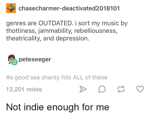 Chasecharmer-Deactivated2018101 Genres Are OUTDATED I Sort My Music