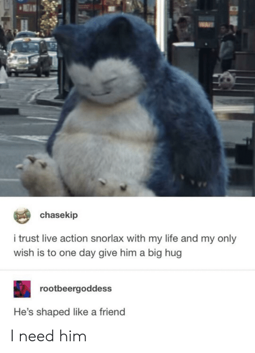 Life, Reddit, and Live: chasekip  i trust live action snorlax with my life and my only  wish is to one day give him a big hug  rootbeergoddess  He's shaped like a friend I need him