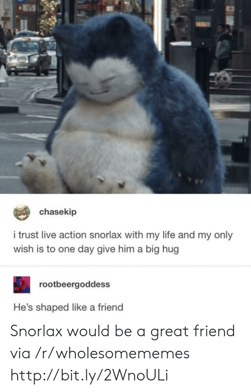 Life, Http, and Live: chasekip  i trust live action snorlax with my life and my only  wish is to one day give him a big hug  rootbeergoddess  He's shaped like a friend Snorlax would be a great friend via /r/wholesomememes http://bit.ly/2WnoULi