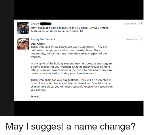 Chaun May L Suggest a Namechangeto This FB Page Perhaps