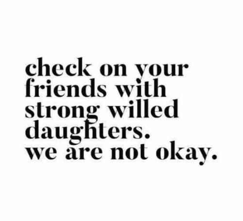 Dank, Friends, and Okay: check on vour  friends with  strong willed  daughters.  we are not okay.