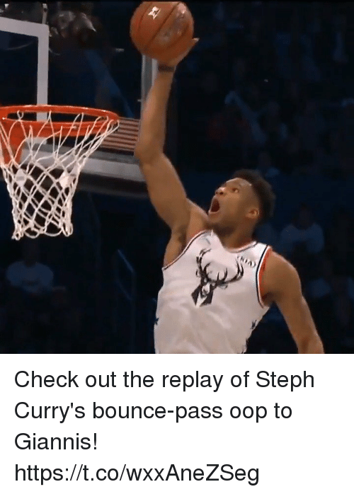 Memes, 🤖, and Replay: Check out the replay of Steph Curry's bounce-pass oop to Giannis! https://t.co/wxxAneZSeg