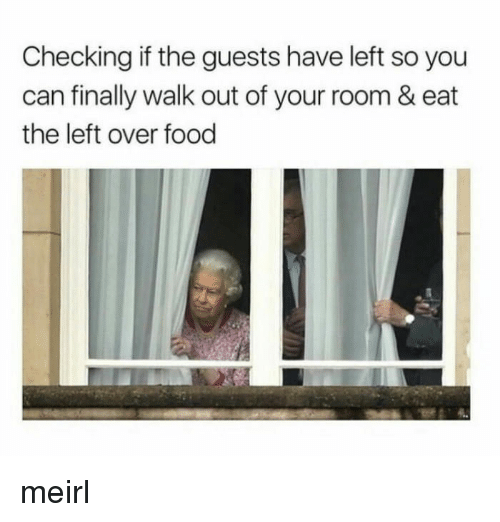 Food, MeIRL, and Can: Checking if the guests have left so you  can finally walk out of your room & eat  the left over food meirl