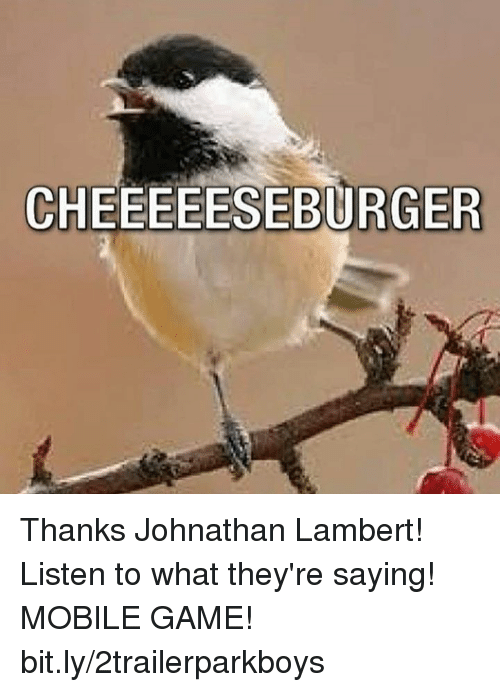 Memes, Game, and Mobile: CHEEEEESEBURGER Thanks Johnathan Lambert! Listen to what they're saying! MOBILE GAME! bit.ly/2trailerparkboys