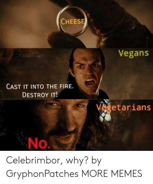 Dank, Fire, and Memes: CHEESE  Vegans  CAST IT INTO THE FIRE.  DESTROY IT!  vegetarians  No Celebrimbor, why? by GryphonPatches MORE MEMES